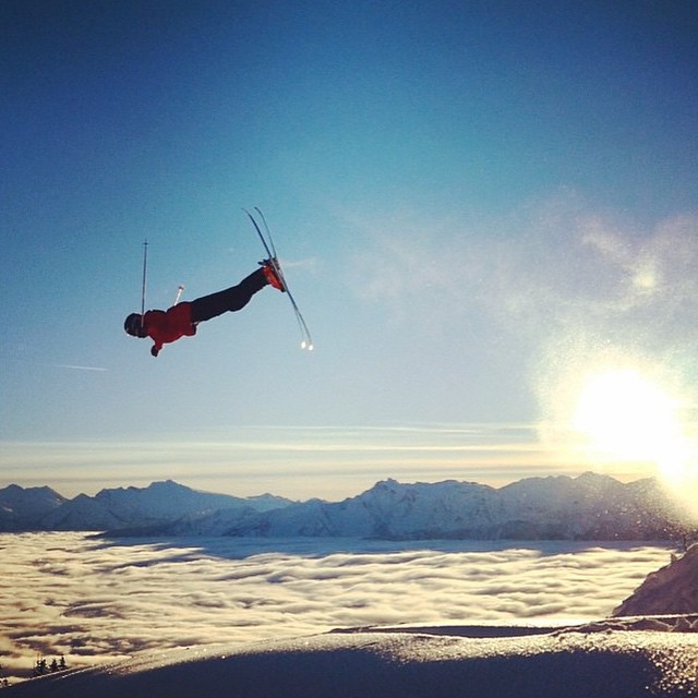Flylow's @mr_mccraw soaring over the Revelstoke clouds.