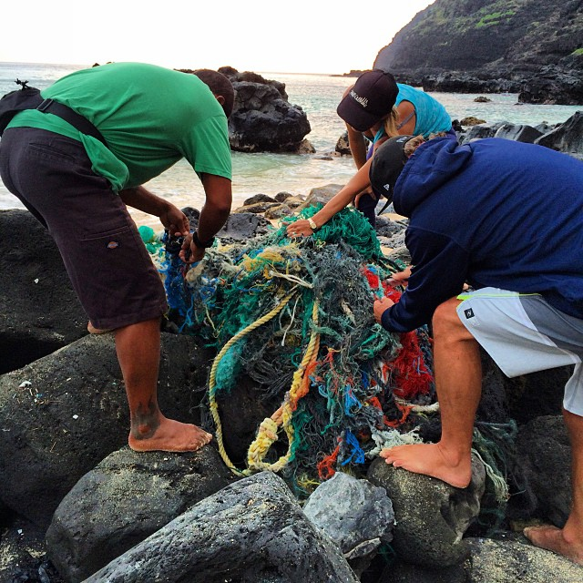 Ghost net removal this morning with @sustainablecoastlineshawaii @surfrideroahu @808cleanups @surfrider . #CleanYoBeach #alohabureo