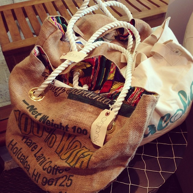 #organik #beach bum bags and #organic cotton #tees & accessories at our pop-up today til 3 PM. Mention Instagram and receive 15% off today only.