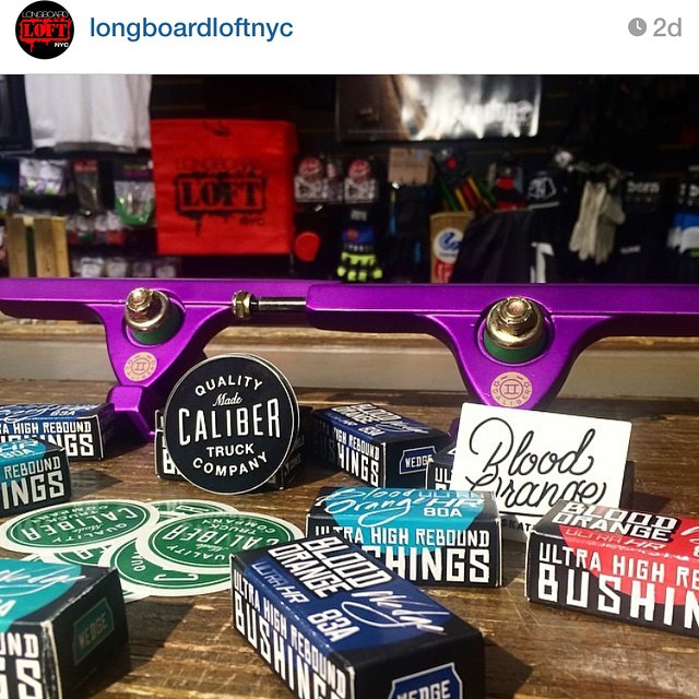 Thanks @longboardloftnyc it's a great time to stock up on our new Purple Satin Caliber II's. #calibertrucks #caliberII #purplesatin