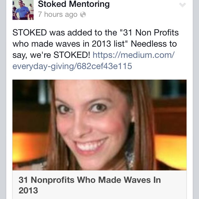 Check this out. We were named one of the most innovative non profits in 2013. #stokedneverstops #humbled #honored #stokedorg #medium @sloane