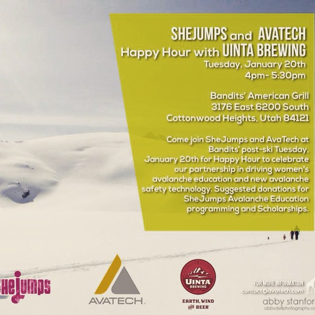 If you're in #SLC this week join us and @avatechsafety for a happy hour party at Bandits'! Beer from @uintabrewing, rad ladies that love #backcountry and paaaarty! Donations encouraged. See you there. #IAmSJ #avalancheeducation #snowsafety