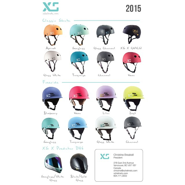 Our 2015 colourways all lined up! #xshelmets #skatebikeboardski #forgirlswhoshred #helmetsforgirls