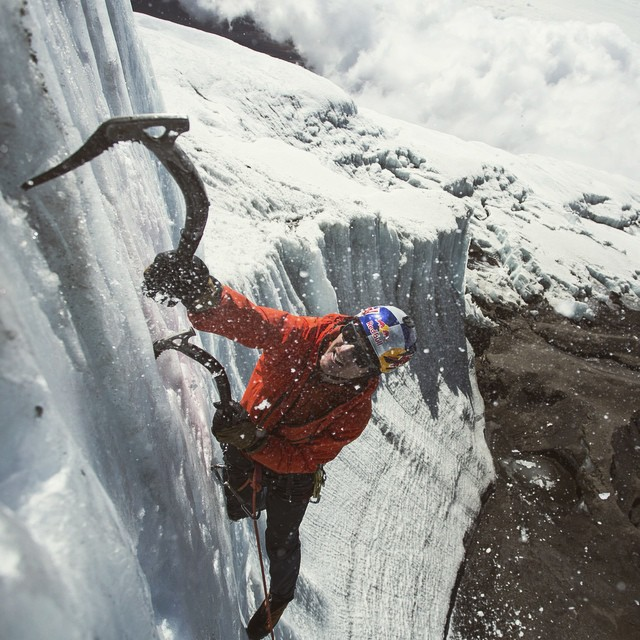 Ice climbing in Africa. @realwillgadd near the summit of Kilimanjaro. #climbing #glacier