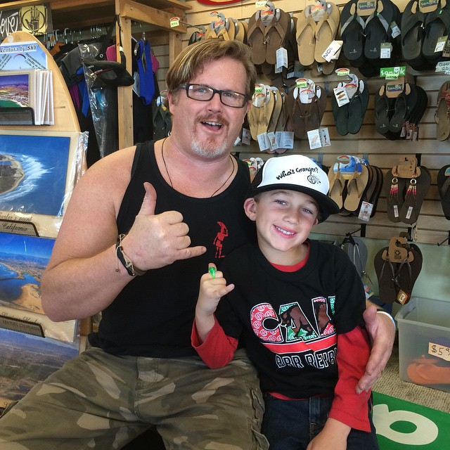Stop 3 with Tom Henley of Beach Break Surf Shop in Ventura.  Benjamin says thanks for the fun times at the arcade. #bbr #beachbreak #surfshop #ventura #tomhenley