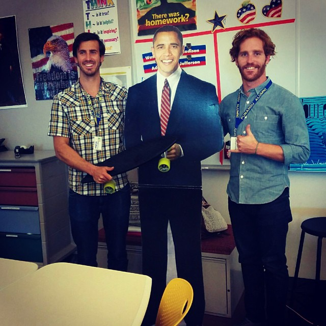 Just hanging with President Obama at his alma mater, Punahou School, in the big city today. We had six  awesome presentations with @kokuahawaiifoundation ...these kids rock and they know their oceans! #plasticfreehawaii #netstodecks #papahuila