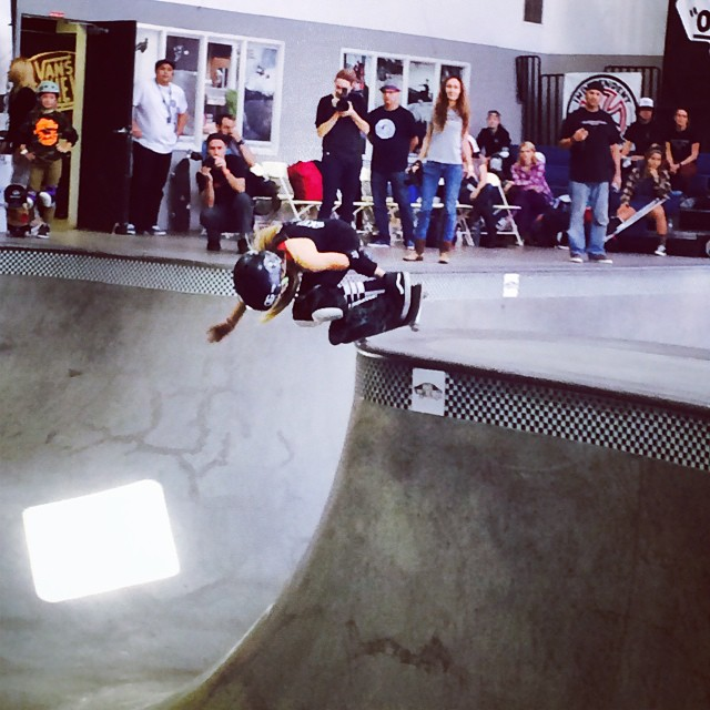 @brightonzeuner rockin the 14 & under division at the #combiclassic going down right now! This girl has lines and style for days! #girlswhoshred #girlskater #thankyouskateboarding #theplayground