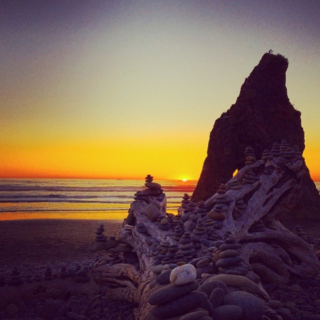 Cairns upon cairns at Ruby Beach in Olympic National Park by @thewanderingdaughter. This beach earned it's name for the ruby-like crystals in the sand. #radparks #parksproject