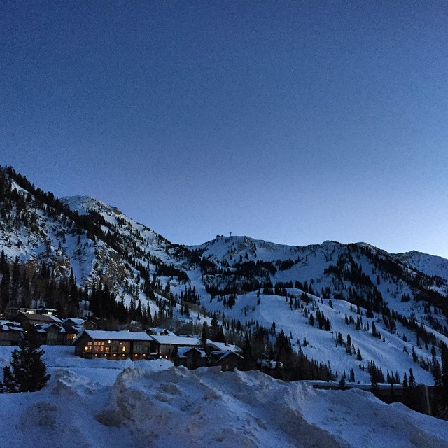 Love this view - twilight in the #Wasatch #utah #mountainlife #happyplace #snowboarding #littlecottonwoodcanyon
