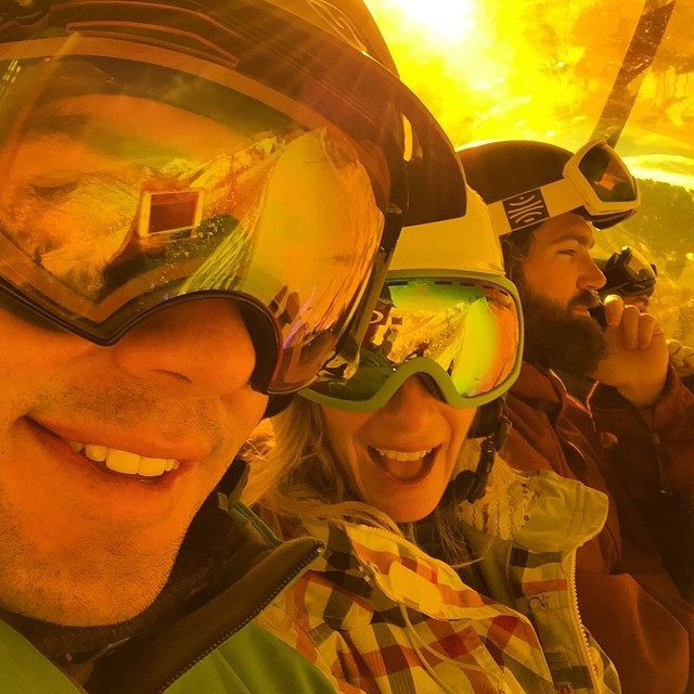 @jvlofaro and I taking selfies in @mcelberts' orange bubble chairlift office #canyons #Utah #nofilter #snowboarding #snow #mountainlife #AndrewKlineDoesntHaveInstagram #chairliftselfie #chairlift #mobileoffice