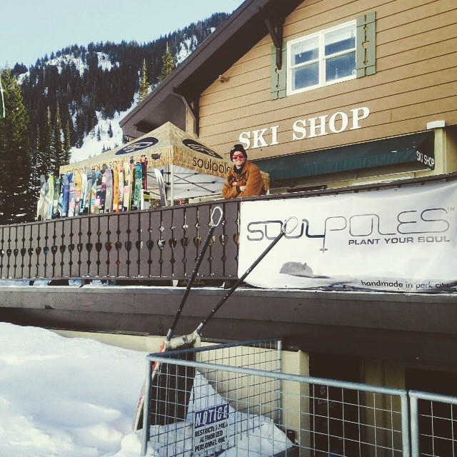 It's a beautiful day here at @altaskiarea's #Wildcat base // come build a pair of custom #bambooskipoles with brand manager, @mhundhammer!