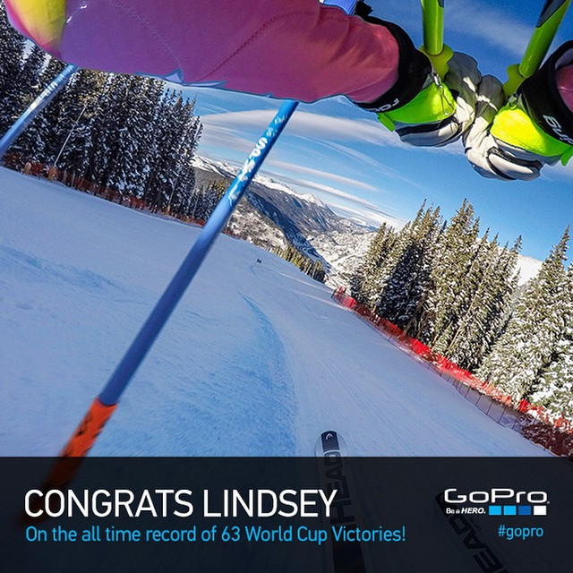 Huge congrats to @LindseyVonn who just broke the record for most World Cup victories! Stoked! Read more at GoPro.com/news