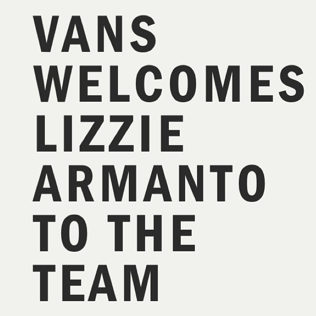 FINALLY!!!! So #proud and #excited for @lizziearmanto for earning a spot amongst the #gnarliest #skateboarders in the world on the @vansskate team. Congratulations, Lizzie! #love #livethedream #equality