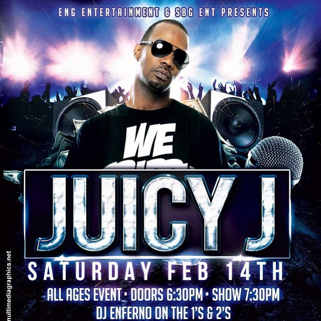 Come see our booth February 14 at the @juicyJ concert brought to you by @eng.entertainment! #FrostyHeadwear #JuicyJ #EngEntertainment #WeKeepItFrostyMane