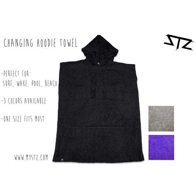 Changing towel hoodie now available in black | more colors coming soon! | perfect for after those surf and wake sessions | www.MYSTZ.com #stzlife #towelhoodie #wakeboard #surf #beachvibes #changetowel #happyshredding #professionaloutsider #cablepark...