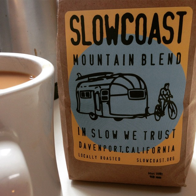 Been a slow holiday Monday kinda day so far - good thing we picked up some organically grown #SlowCoast roasted coffee, from the surf side  village of Davenport over the weekend. Might be my all time favorite coffee bag label... 3rd cup, coming up!...