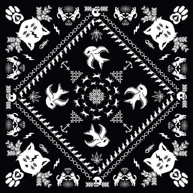 Bandana Dark #bandana #design #fashion #stamp #serigrafia #look #style #cat #pixel #pixelart