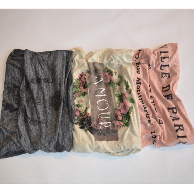 Never boring tees to live your life in. #thebest #basics #liveinit #winter #spring #2015 #wardrobe #new #style #tt #transformationtuesday #saysomething #prints #graphics #amour