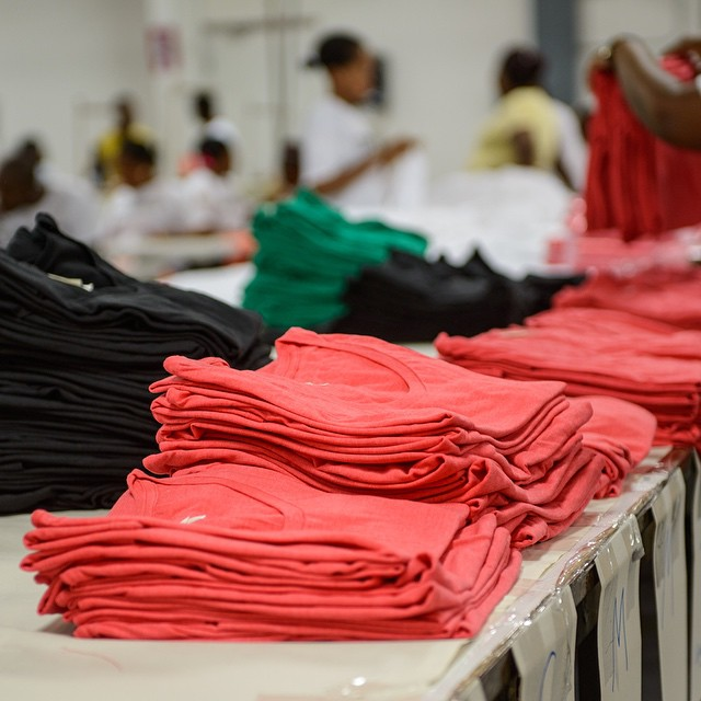 Our tees on the line ready for #spring2015 in the @industrialRevII factory in #Haiti. #sustainable #ethical #manufacturing #organic #recycled #industrialrevolution #fashion #revolution