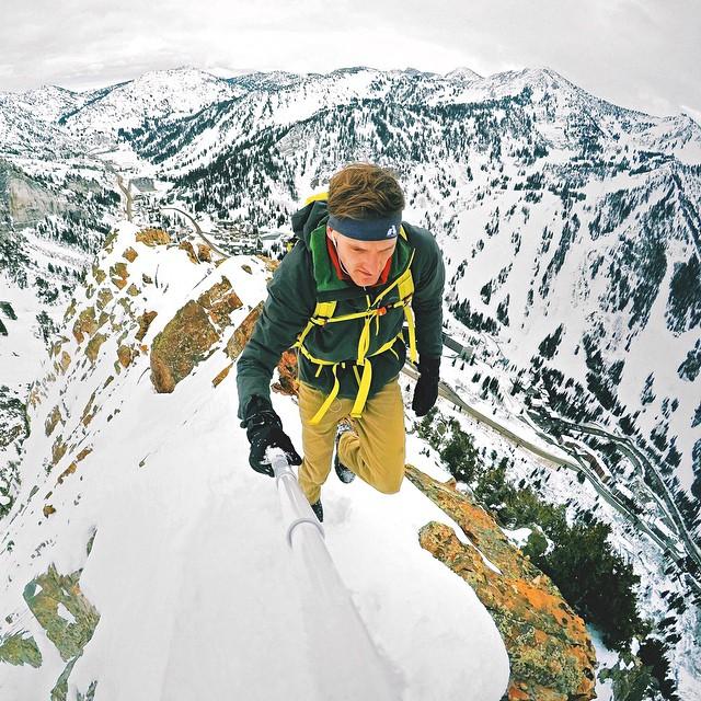 @tmcflyy carefully hiking a snow covered ridge in Utah. GoPro HERO4 | GoPole Reach #gopro #gopole #gopolereach #hiking