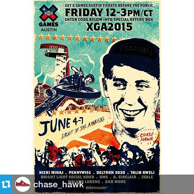 #Repost @chase_hawk ・・・ @xgames is holding a pre-sale for summer #XGames tickets starting tomorrow 12-3pm CST all you have to do is go to www.tickemaster.com/xgames and type in the password XGA2015 !