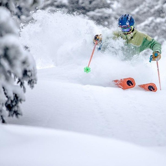 The #orangehot bases of skier / builder @d.r.e.w.rouse featured on @vailmtn yesterday #powder #colorado