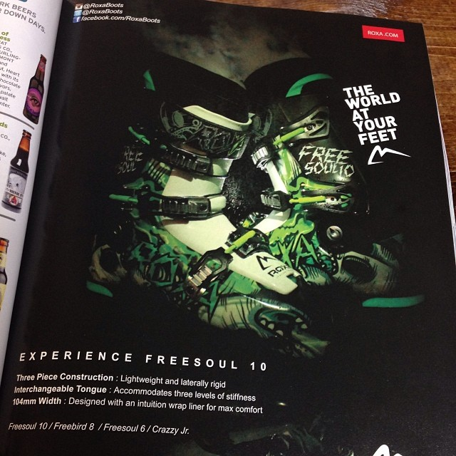 New ad looking good with the Freesoul 10 in @skiingmagazine Boots showing up in shops this week!