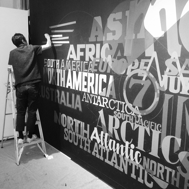@kngee hard at work about to wrap up his piece at @montcollegeart opening reception tonight at 7pm #handlettering #signpainting #kenji #oneshot