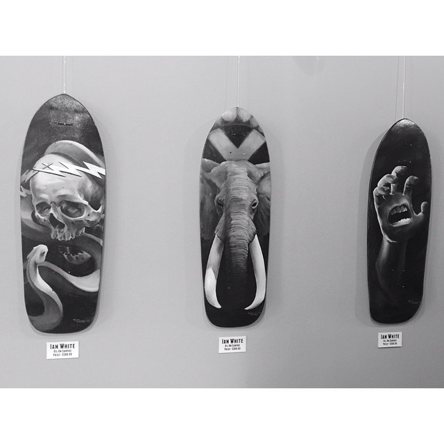 Some decks of ours that @ianwhitetattoos painted up on display at the new @safehousetattoo studio in Marathon Village.