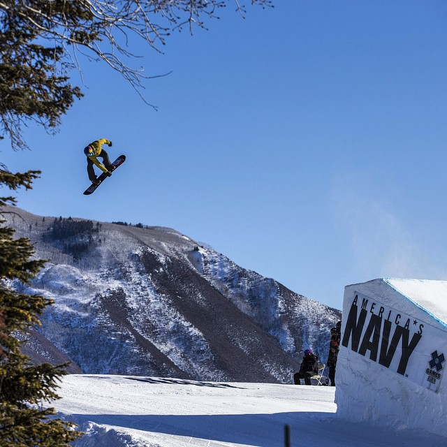 Send it!  @markmcmorris on his way to qualifying first in Snowboard Slope with a 96.6. #xgames (