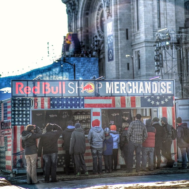 Such a picturesque backdrop behind the merch booth here. The only place to purchase a Redbull Crashed Ice Custom Snapback is right here at the event!