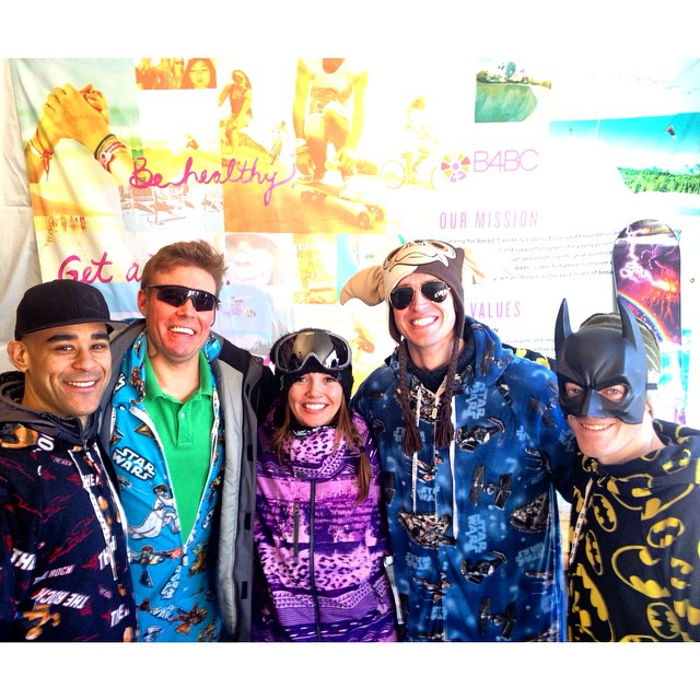 #TeamB4BC rider @KaitlynFarr signing autographs for some dudes rocking onesies at our outreach booth at #XGames #Aspen!  Come by, meet Kaitlyn and get educated... #checkonetwo #onesiegamestrong