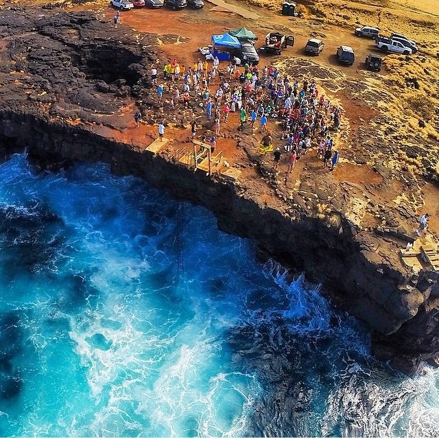 Drone shot of the South Point cleanup today...amazing day of picking up trash and jumping cliffs! @sustainablecoastlineshawaii @wildhawaii @konabrewingco