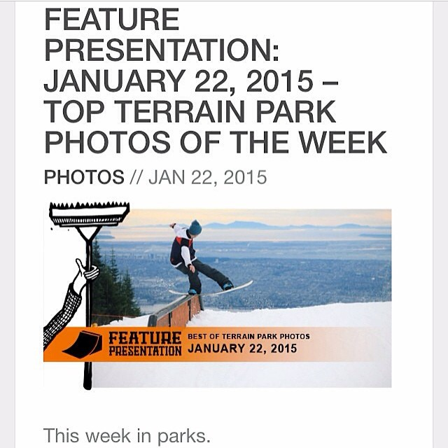 One more from our boy Trint Thomas (@trint_thomas)...he got himself the album cover for @snowboardmag's Park Photos of the Week with this shot from @grousemountain...run on over to their site and check em all out...photo by @logan_henda_...thanks pal!