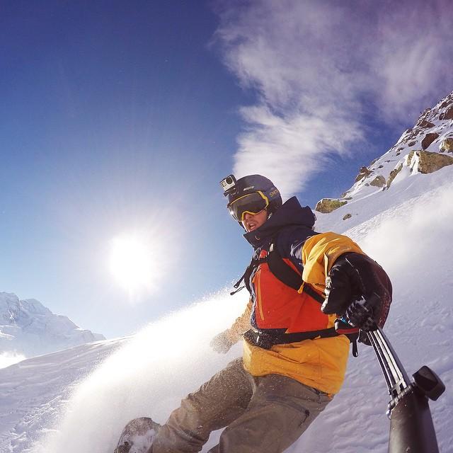 @ralphbackstrom flies through the steep, deep pow in Chamonix-Mont-Blanc for the Freeride World Tour.