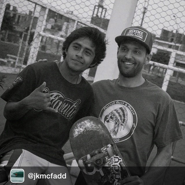 Repost from @jkmcfadd via @seckence Mi amigo Cesar Miranda and I at the skatepark in Punta Hermosa, Peru! Photo: @follyhood Thanks for letting me use your board Cesar!!! @seckence @parrotsurf #seckenceteamrider #parrotteamrider #parrotsurfnskate...