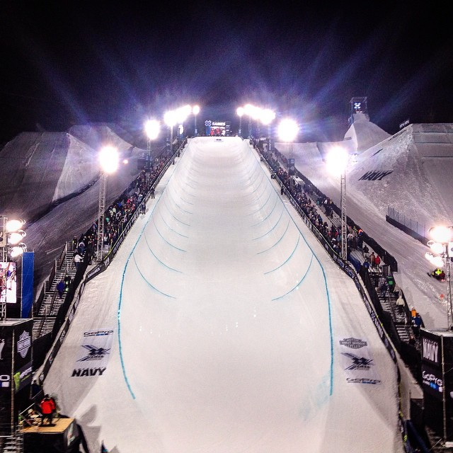 Getting this Saturday night party started with Women's Snowboard SuperPipe! #Xgames