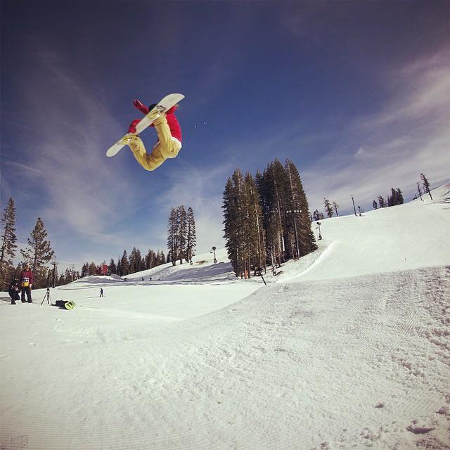Thrive rider @lallylallybostonsteve tweaking out a huge suitcase method on the @borealmtn jumpline. #thrivesnowboards #relentless #snowboarding #method