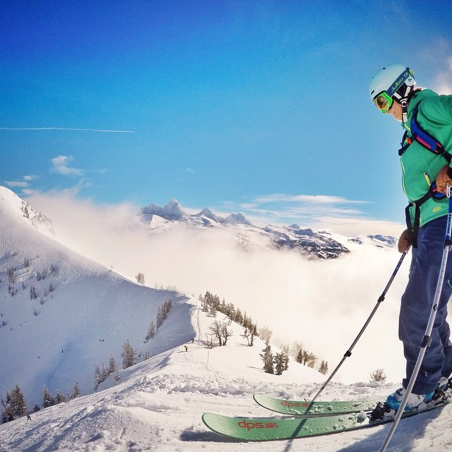 Dropping into the A Chutes @grandtargheeresort. Photo: @tomgirlphoto. Skier: @dwyerolivia. #dpsskis #skiing