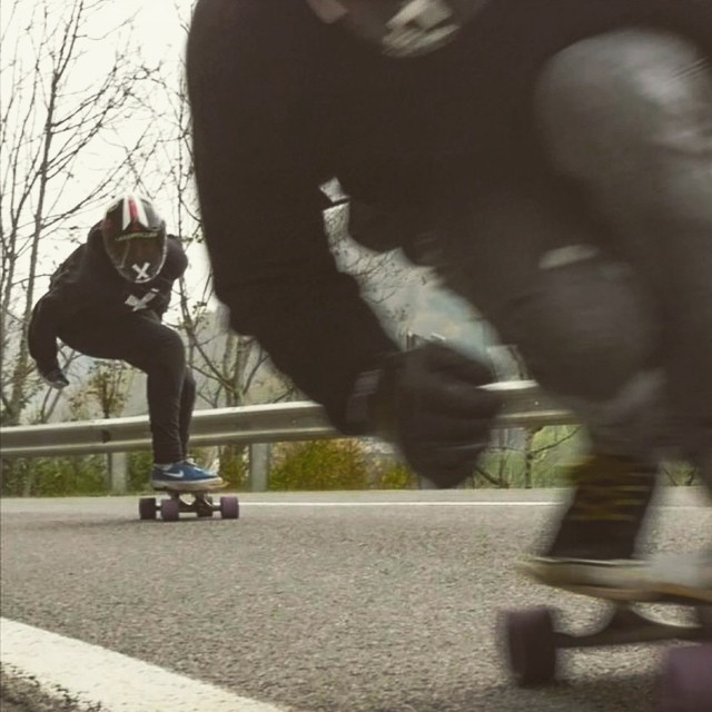 @glorifiziert chasing @nicolanuehrig during their latest video edit. Go to www.longboardgirlscrew.com and check our LGC Austria ambassador's killer edit. Yes to this & to girls/boys runs.  #longboardgirlscrew #girlswhoshred #glorikupsch