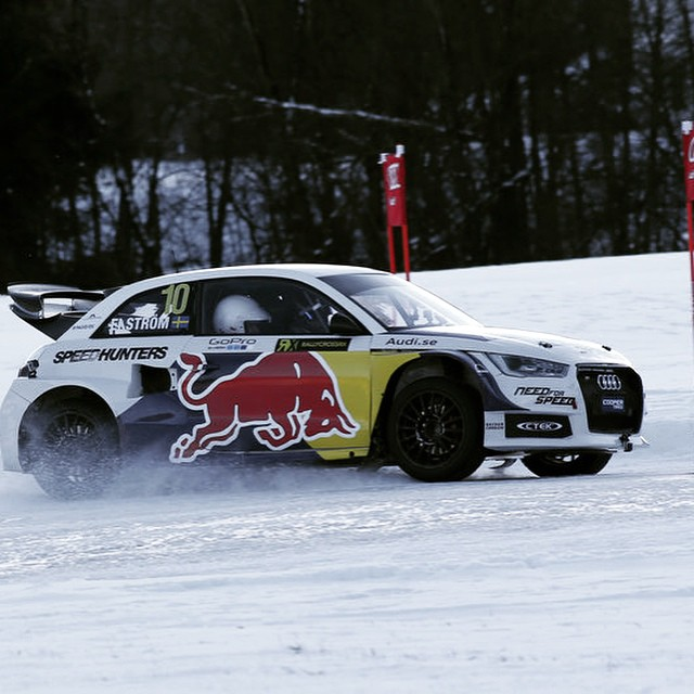 Do try and get a grip. #DTM champ Mattias Ekstrom takes alpine ski superstar @felix_neureuther for a spin in his #Audi S1 EKS RX. #ski #worldcup #rallycross