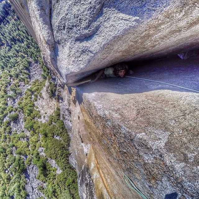Photo of the Day! @lonniekauk climbing Washington's Column in Yosemite. Photo by @cruzmclean_.