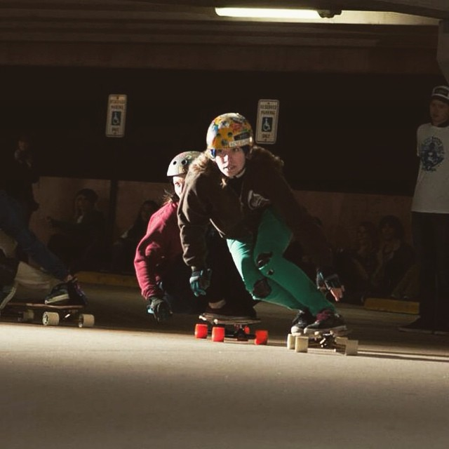 @di_zzy_j leading @annaoneill during the #bayoubattle event hosted by @nobull_longboarder last week in Texas. Yeah girls!  @apramesi photo  #longboardgirlscrew #girlswhoshred #dizzyjane #annaoneill