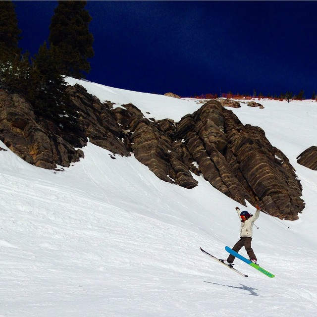 No snow, no problem. Intern @rblums co made it to #jacksonhole to get some soft turns in. #prayforsnow #sisterhoodofshred