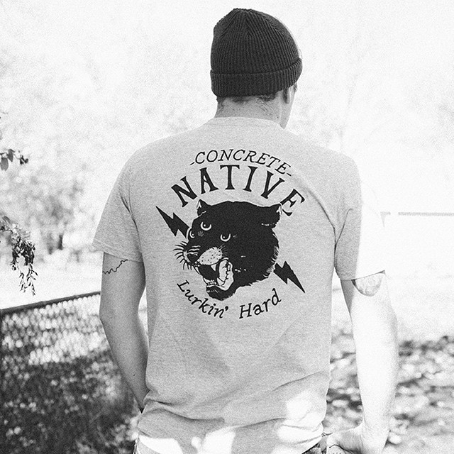 Lurk Hard on a Tuesday with the three eyed panther printed on our organic Stalker Tee. #concretenative #lurkinhard #onatuesday #threeeyedpanther #organic #realshitforrealpeople #skatelife #lurklife