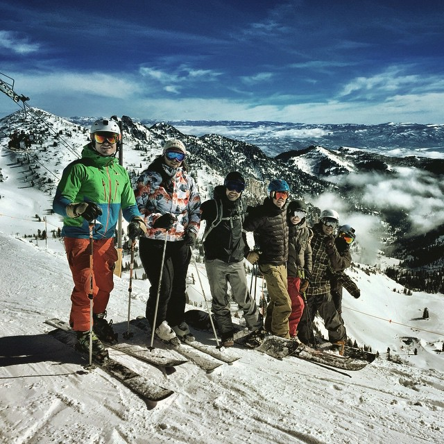 "Just another Monday. Talkin business on top of snowbird with th #PeakDesign team. Then somebody asked us if we were having a ""case of the Mondays"" and then we shredded so much gnar down their pow hole that they're gonna have to take a week off just to..."