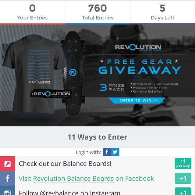 Only 5 Days left, makes sure you get your entries in on our giveaway! Still plenty of chance to win to make a Revolution Skateboard, Tshirt and sticker pack all yours