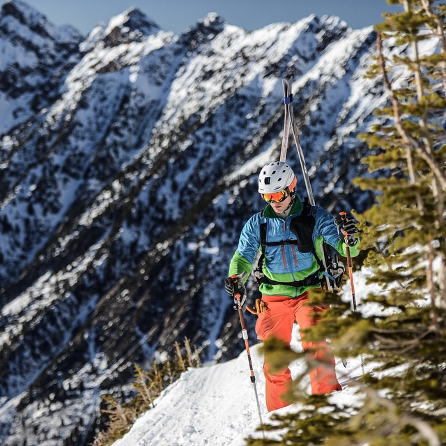 @lockettphotos in the Utah #backcountry. Can you spot the #Shell prototype? Development is coming along swimmingly, and we'll have more product details in the coming month.