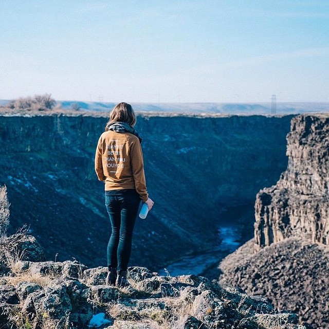 "Check out @jilliangz rocking our ""Leave It Better"" sweatshirt in Malad Gorge State Park!"