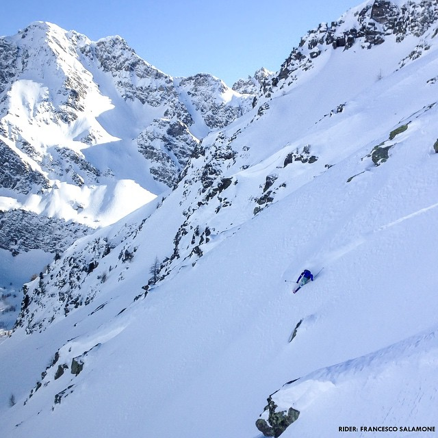 Look closely for this one and you may just see @francescohekla bombing down this mountain. Photo credit: Leonardo Comelli #bosky #skiseason #freshpowder